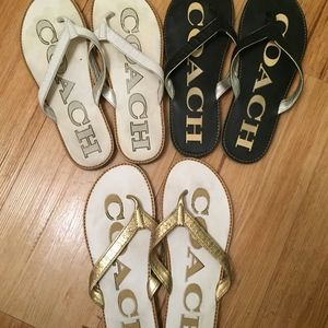 3 Pairs of Coach Sandals in Black/ White/ Gold 7M